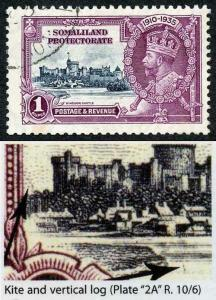 Somaliland Protectorate SG89l 1935 Silver Jubilee 1/- with Kite and Vertical Lo