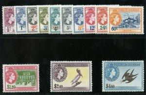 British Virgin Islands 1956 QEII set complete superb MNH. SG 149-161. Sc 115-127