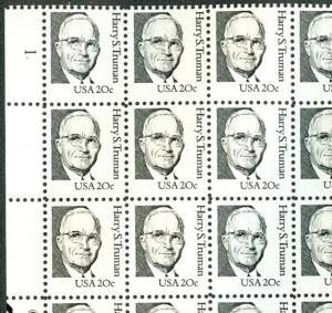 US #1862 20¢ Harry Truman, small block tagging Sheet