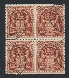 RHODESIA 1898 £2 BLOCK WITH RE-ENTRIES VF USED SG#91  (SEE BELOW)