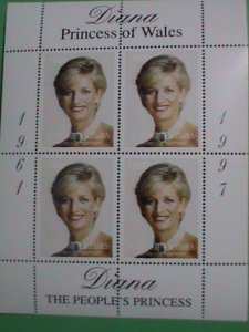 TUVALU STAMP-1997-DIANA- PRINCESS OF WALES -WITH WHITE PEAL NECKLACE-MINT-NH S/S