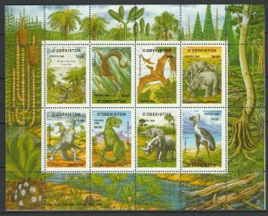 Uzbekistan 1999 Dinosaurs MNH sheet
