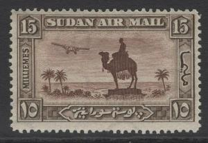 SUDAN SG52 1931 15m RED-BROWN & SEPIA p14 MTD MINT