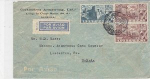 portugal 1946 air mail stamps cover ref 19370
