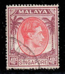 Malaya Singapore 1948 KGVI 40c perf 17½x18 SG 26 used CV