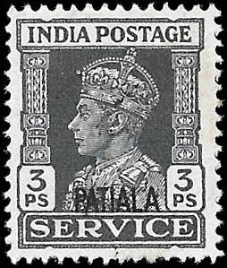 INDIA PATIALA  SC# O63  -  USED - NICE ALBUM SPACE FILLER