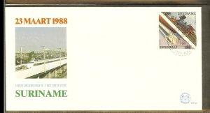 1988 - Rep. Surinam FDC E122YY - Transport - Trains - Overprint antique en mo...