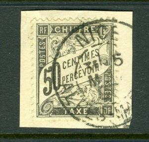 France #J21 50c Postage Due (on piece) Nice Cancel - cv$175.00++