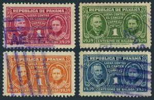 Panama RA1-RA4,used.Michel Zw 1-4.Postal Tax stamps 1939.Pierre & Marie Curie.