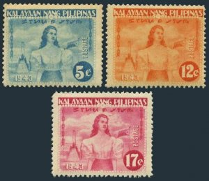 Philippines N29-N31,MNH.Mi 32-34.Independence of  Philippines Japan granted,1943