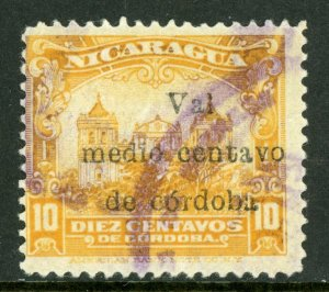 Nicaragua 1918 Cathedral Provisional ½¢/10¢ Scott 367a VFU M469