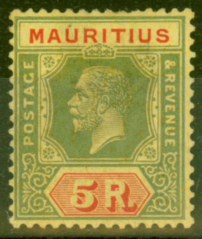 Mauritius 1924 5R Green & Red-Yellow SG240 Mtd Mint