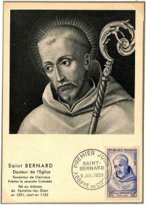 90084 - FRANCE - Postal History - FDC MAXIMUM CARD - SAINT BERNARD Religion 1953