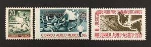Mexico 1955 #890,C227-8, Pan Am Games, MNH.