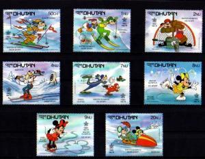 BHUTAN - 1988 - DISNEY - MICKEY - MINNIE - DONALD + CALGARY OLYMPICS - MINT SET!