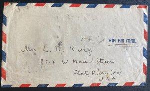 1948 Shanghai china Airmail Cover To Flat River MO Usa