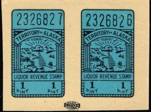 US STAMP BOB  #Alaska Liquor Tax Stamp SELF ADHESIVE STAMP PAIR