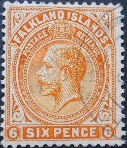 Falkland Islands 1911 GV 6d SG 64 used