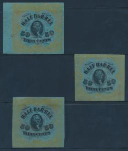 #REA41E 50c 1878 1/2 BARREL 50c BEER USIR STAMPS 3 DIFF EXPIMENTAL PAPER BU5566
