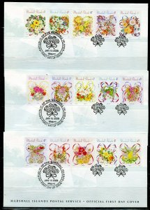 MARSHALL ISLANDS 2008 FLOWERS BOUGUETS  SET OF FIVE FIRST DAY COVERS