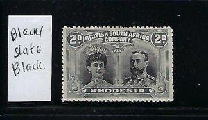 RHODESIA SCOTT #103 -1910 DOUBLE HEADS- 2P (SLATE BLACK/BLACK) PERF 14 - MINT OG