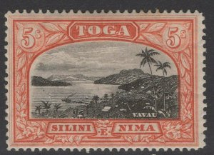 TONGA SG53 1897 5/= BLACK & BROWN-RED MTD MINT