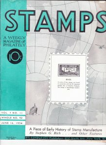 Stamps Weekly Magazine of Philately June 16, 1934 Stamp Collecting Magazine