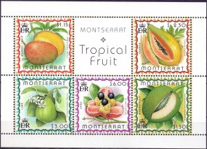 Montserrat. 1999. 1095-99 bl82. Flora fruits. MNH.
