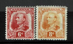 Sarawak SG# 96 and 97, Mint Hinged, Hinge Remnant, minor curling - S990
