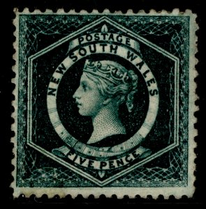 AUSTRALIA - New South Wales QV SG233a, 5d blue-green, M MINT. Cat £27. PERF 12