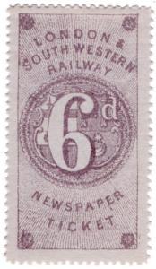 (I.B) London & South Western Railway : Newspaper Ticket 6d