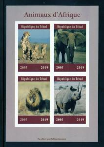 CHAD 2019  AFRICAN ANIMALS  SHEET IMPERFORATE   MINT NEVER HINGED