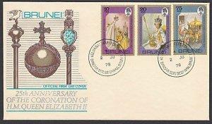 BRUNEI 1978 25th Anniv Coronation QE2 commem FDC............................R458