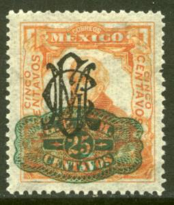 MEXICO 586, 25cts ON 5cts VILLA + BARRIL SURCHARGE UNUSED, H OG. F-VF.