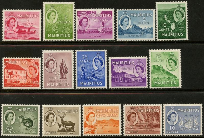 MAURITIUS Sc#251-265 1953-54 QEII Pictorial Definitives Complete Mint Hinged