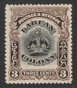 LABUAN : 1902 Crown 3c black & sepia, variety 'line through B'.