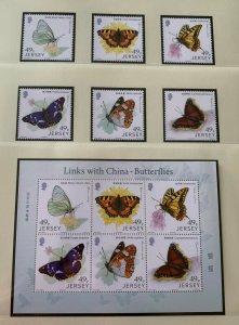 JE6) Jersey 2017 Butterflies set of 6 & Sheetlet MUH
