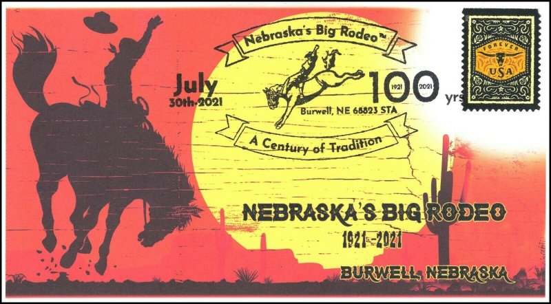 21-216, 2021, Nebraska's Big Rodeo, Event Cover, Pictorial Postmark, Burwell NE