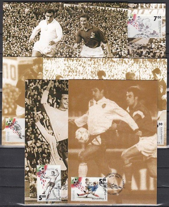 Bulgaria, Scott cat. 3823-3827. World Cup Soccer on 6 Max. Cards.