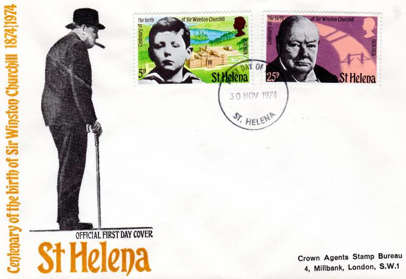 St.Helena 1974 Sc#285/286 SIR WINSTON CHURCHILL Set (2) Official FDC