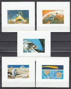Sharjah, Mi cat. 982-986 C. Apollo 16 on 5 Deluxe s/sheets. *