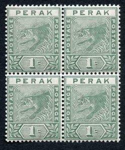 Perak 1892 SG61 1c Green wmk Crown CA 2 x U/M Cat 12+++ pounds