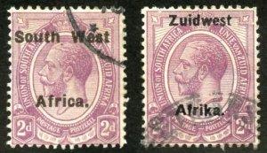 South West Africa Scott 18b, 31a UFH - Wmk 177, Perf 14 - SCV $3.50