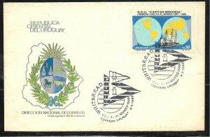 URY-168 URUGUAY 1990 SHIP SAILING WORLD AROUND TRIP WHITBREAD  COVER SPECIAL PMK