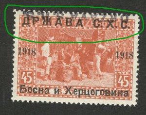 BOSNIA - SHS -MNH STAMP, 45 h - ERROR -TETE BECHE OVERPEINT DRŽAVA S.H.S.-1918