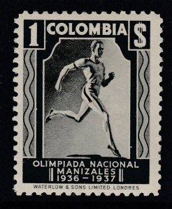Colombia 1937 1p Black Olympics LM Mint. Scott 447