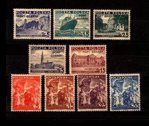 Port Gdansk - Sc# 1K28 - 1K30 MH + 1K31 - 1K36 MNH  /  Lot 1119040