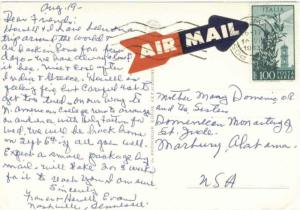 Italy 100L Plane Over Bell Tower 1963 Roma Airmail PPC to Dominican Monastery...