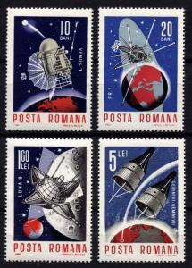 Romania 1966 Space Explore Satellite Stamps MNH Mi 2509-2512