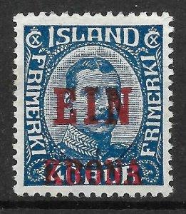Doyle's_Stamps: VF/XF MH/og 1926 Icelandic 1 Krona Overprinted  Scott #150* (L1)